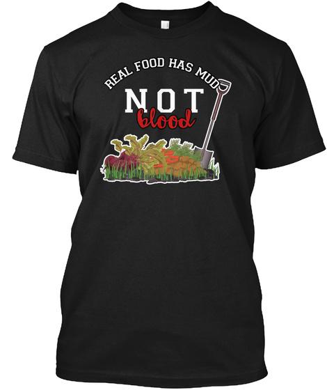 Real Food Vegan Vegetarian Shirt Black T-Shirt Front