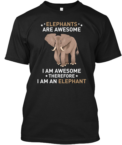 Elephants Are Awesome (N) Black T-Shirt Front