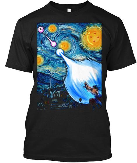Songoku Van Gogh Poster Black T-Shirt Front