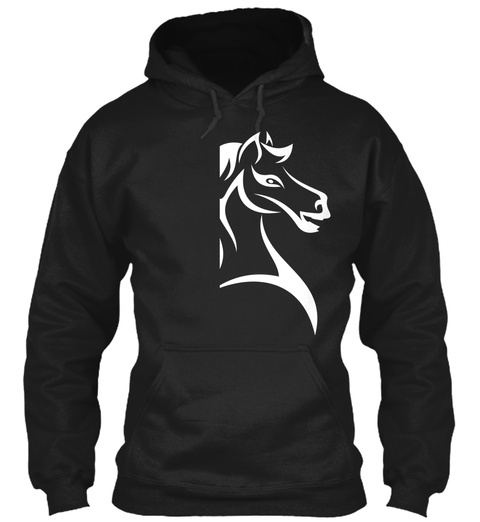 Hoodie Horse White Black T-Shirt Front