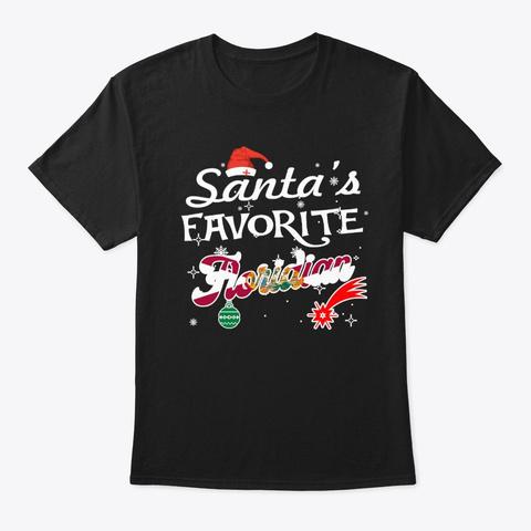 Santa's Favorite Floridian Xmas Gifts Black T-Shirt Front