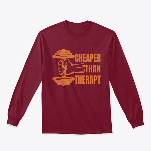 Lifting Weights  Cheaper Therapy Cardinal Red T-Shirt Front