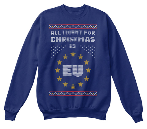 All I Want For Christmas Is Eu Oxford Navy Sweatshirt Front