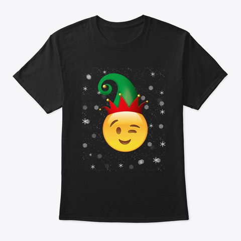 Merry Winking Face Christmas T Shirt Black T-Shirt Front