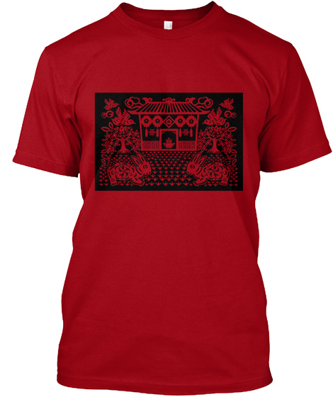 Traditional Art Deep Red Camiseta Front