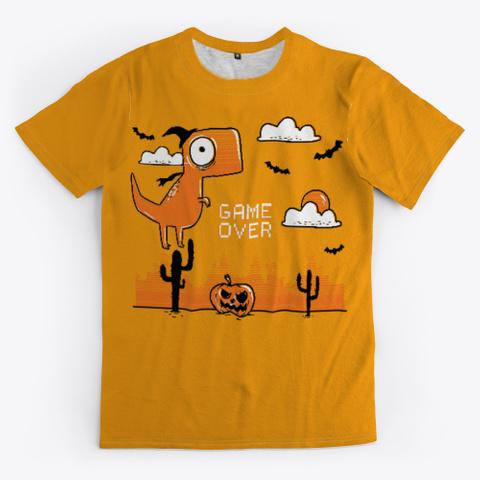 Funny Dinosaur Halloween 🎃 Orange T-Shirt Front