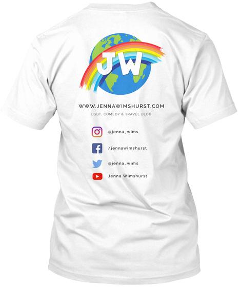 Lgbt, Comedy &Amp; Travel Blog Tee White T-Shirt Back