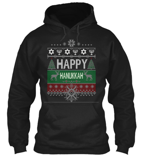 Happy Chanukah Happy Hanukkah Jewish Black T-Shirt Front