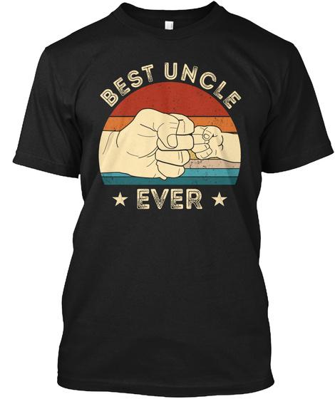 Vintage Best Uncle Ever Fist Bump Funny Black T-Shirt Front