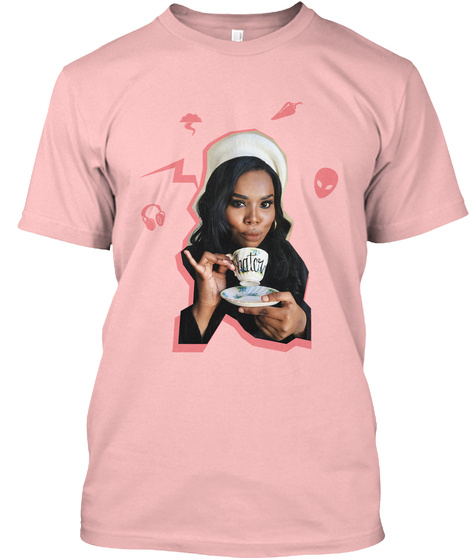Marquita Sippin' Tea   Tee Pale Pink T-Shirt Front