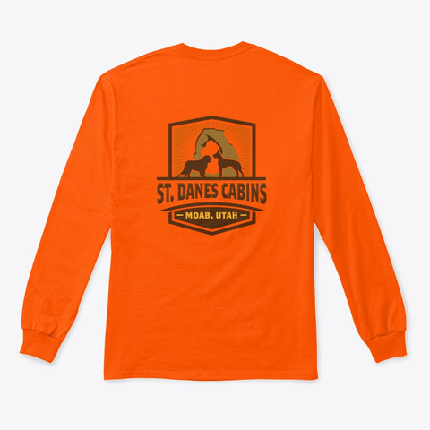 Full Color Logos Safety Orange T-Shirt Back