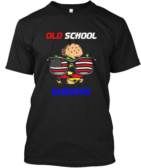 Old School Burgers Black T-Shirt Front