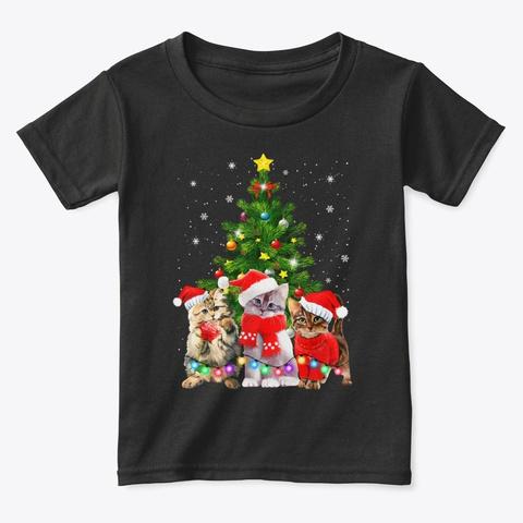 Funny Meowy Cat Christmas Tree Kitten Black T-Shirt Front