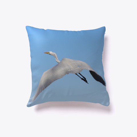 Great White Heron Flying  Light Blue T-Shirt Back