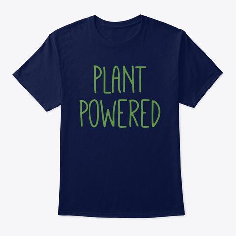 Plant Powered Vegan Vegetarian Navy T-Shirt Front