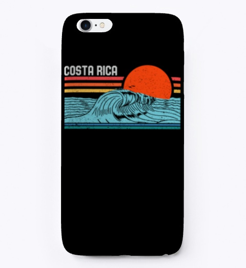 Vintage Retro Costa Rica Beach Surfing Black T-Shirt Front
