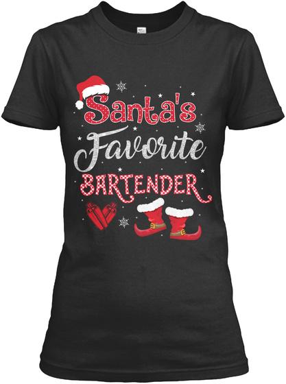 Santa's Favorite Bartender Black T-Shirt Front