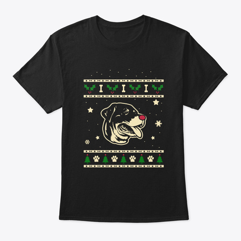 Christmas Rottweiler Gift Black T-Shirt Front