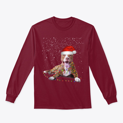 Funny Merry Pitmas Pit Bull Tshirt Gift Cardinal Red T-Shirt Front
