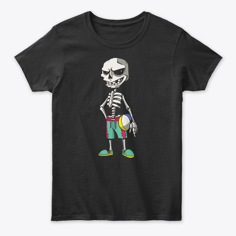 Beach Volleyball Skeleton  Tee Black T-Shirt Front