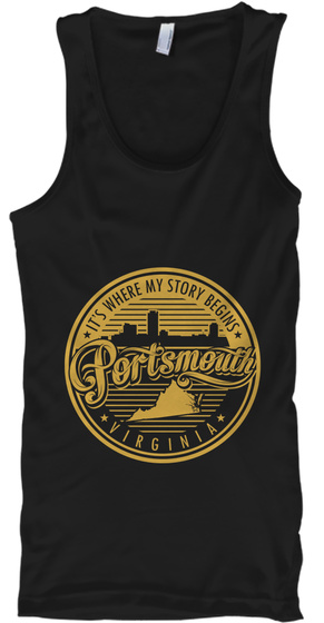 It's Where My Story Begins Portsmouth Virginia Black Tank Top Front