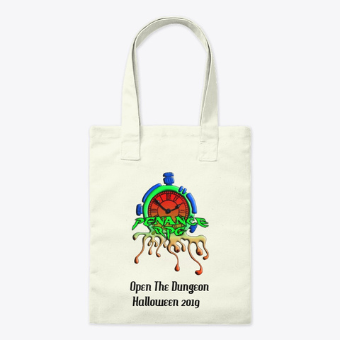 Halloween 2019 Open The Dungeon. Natural T-Shirt, tote bag unbleached, Halloween 2019 logo, multicoloured, 'Open The Dungeons Halloween 2019'