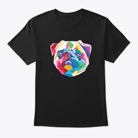 Pug Face Shirt Dog Mom Dad Pop Art Pug Black T-Shirt Front