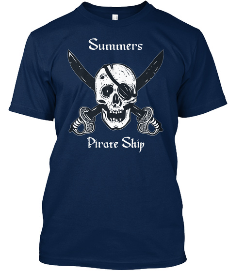 Summers's Pirate Ship Navy T-Shirt Front