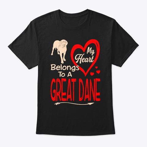 Heart Belongs Great Dane Valentine Black T-Shirt Front