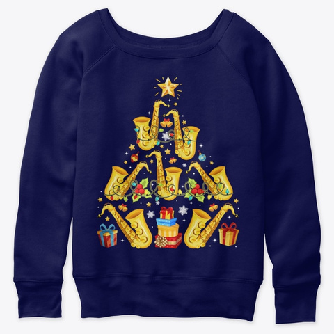Saxophone Tree Hat Snow Merry Christmas Navy  T-Shirt Front