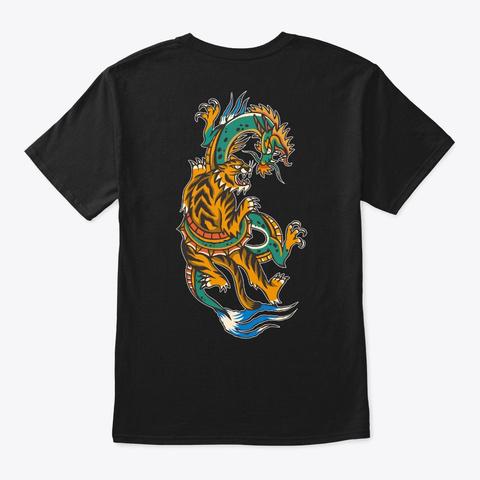 Chinese Dragon Tiger Black T-Shirt Back