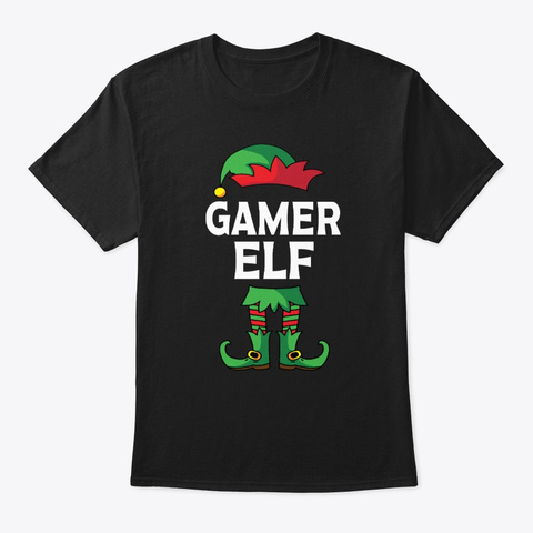 Gamer Elf Matching Family Christmas  Black T-Shirt Front