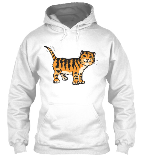 Cute Tiger Cat Animal Present Gift Idea White T-Shirt Front
