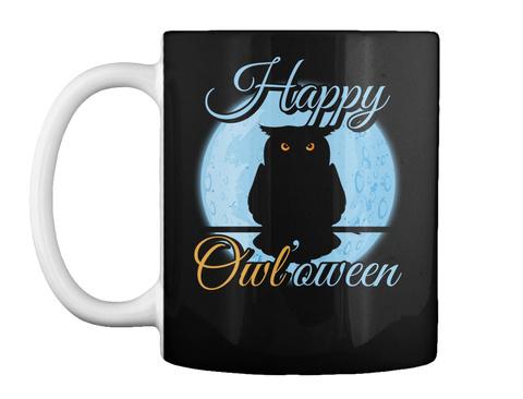 Happy Owl'oween Black T-Shirt Front