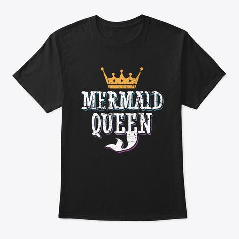 Mermaid Queen Matching Birthday Black T-Shirt Front