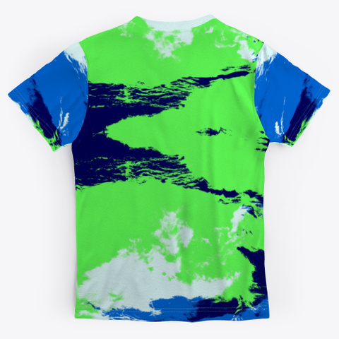 Abstract Green Blue Ink Blot Rorschach Standard T-Shirt Back