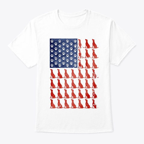 Red Dog Blue Paw Flag White T-Shirt Front