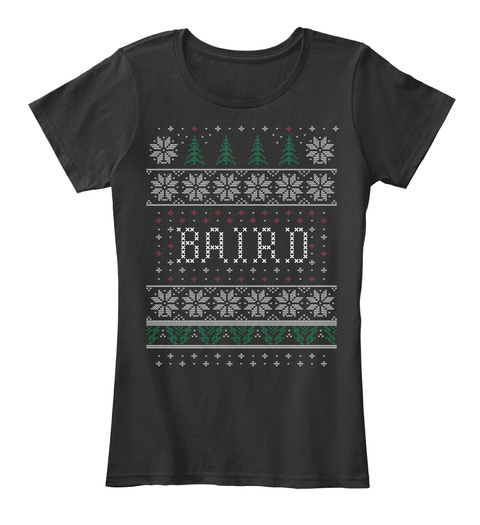 Baird Ugly Christmas Sweater Pattern Black T-Shirt Front