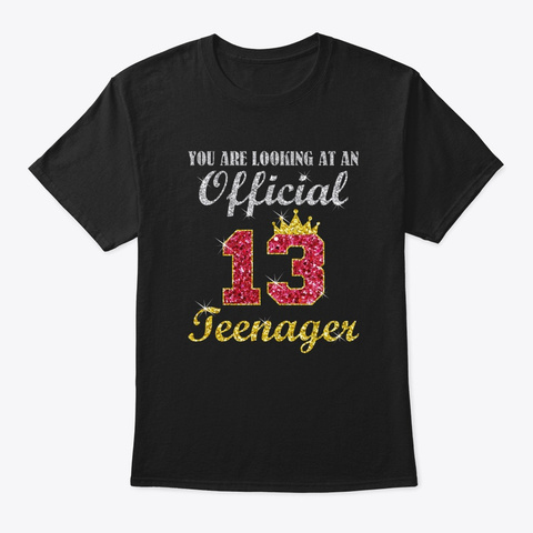 Officially 13 Years 13th Birthday 2007 F Black T-Shirt Front