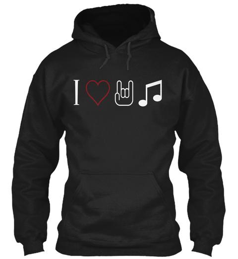 I Love Music Black T-Shirt Front
