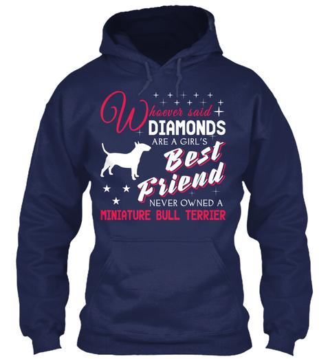 Miniature Bull Terrier Gift Shirt. Navy T-Shirt Front