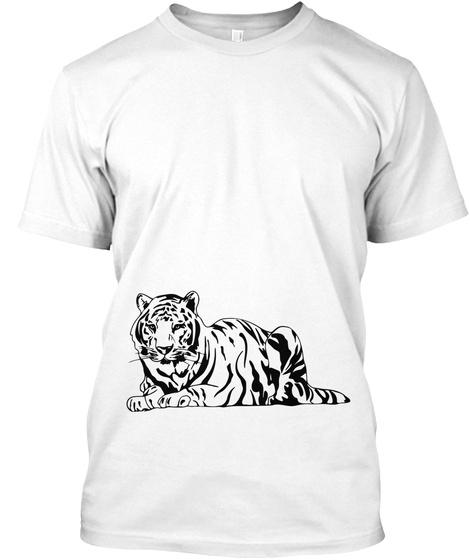 暴露的老虎 White T-Shirt Front