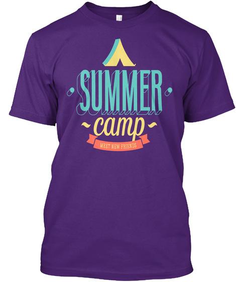 Summer Camp Inscription Shirt Purple T-Shirt Front