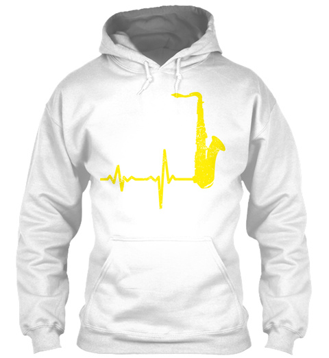 Gift Heartbeat Saxophone White T-Shirt Front