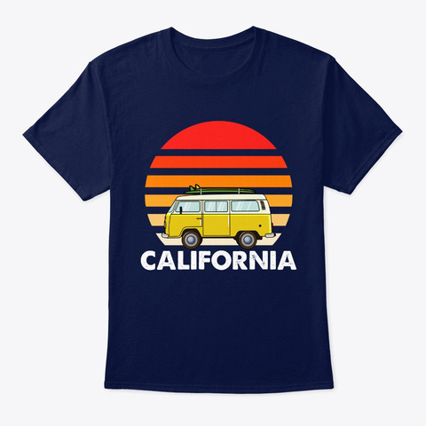 Retro California Hippie Van Beach Bum Su Navy T-Shirt Front