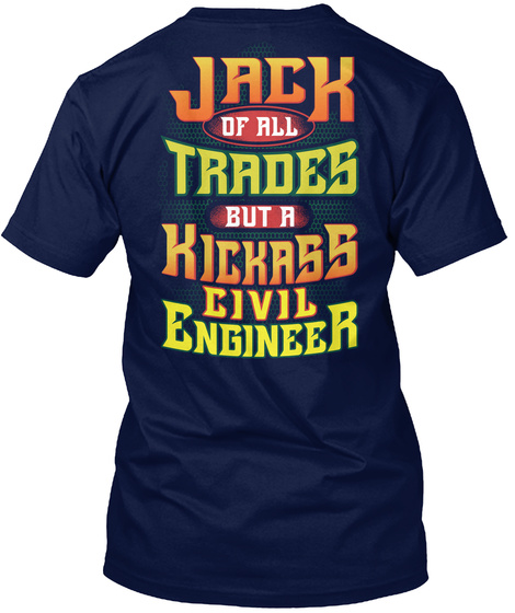 Awesome Civil Engineer Navy T-Shirt Back