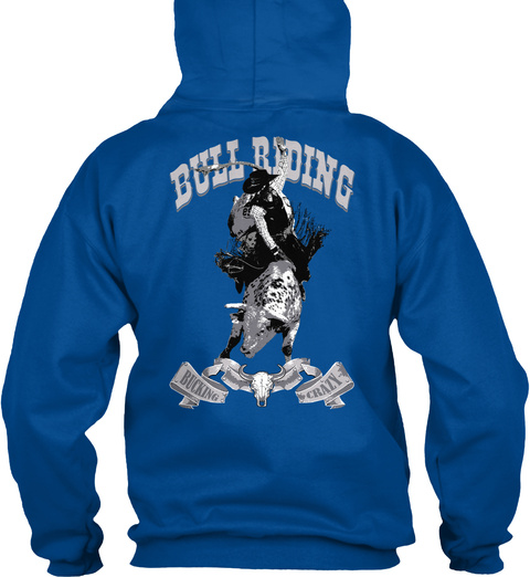 Bull Riding Bucking Crazy Royal T-Shirt Back
