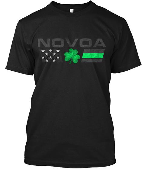 Novoa Family: Lucky Clover Flag Black T-Shirt Front