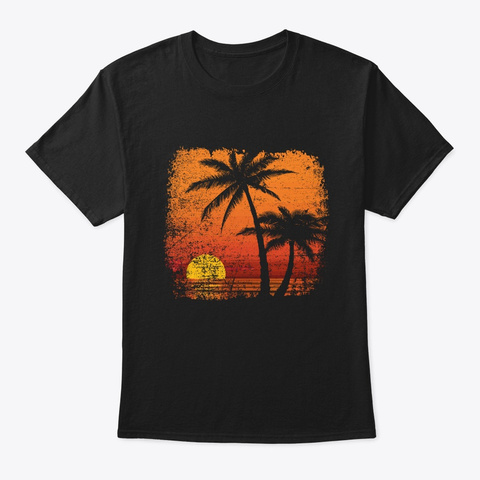 Orange Tropical Palm Tree T Shirt Black T-Shirt Front