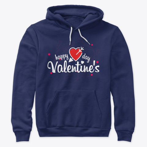 Valentine's Tee & Hoodies Navy T-Shirt Front
